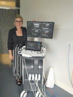 Kathryn Busch with Ultrasound machine